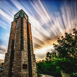 Time Stands Still For No One by Randy Scherkenbach - City,  Street & Park  City Parks ( clouds, wisconsin, tower, sky, waukesha, long exposure )