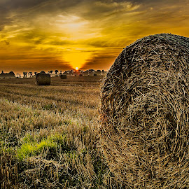 After the harvest by Marek Saj - Landscapes Prairies, Meadows & Fields ( field, sunset, sheaf of hay, hay, meadow, sun,  )