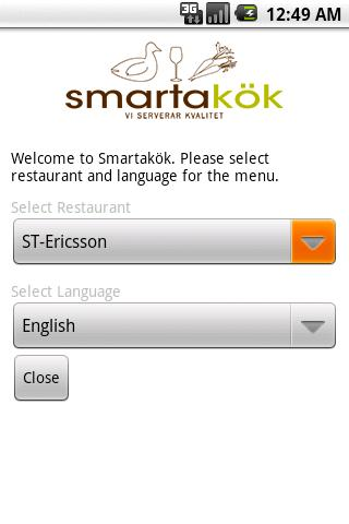 Smartakök Lunch Menu