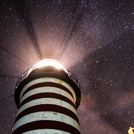 Quoddy Head Lighthouse by Ben Anderson - Buildings & Architecture Other Exteriors ( starts, maine, lighthouse, night, milky way )