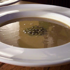 Chestnut and Sherry Soup with Truffle Garnish