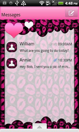 GO SMS THEME HeartFeltKisses
