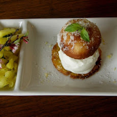 Bocconcini Filled Donuts with Pineapple Basil Compote & Vanilla Bean Ice Cream