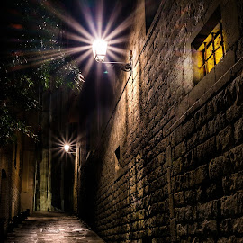 Alchemist's chamber by Catalin Tibuleac Fotografie - City,  Street & Park  Historic Districts ( street, night, barcelona, spain, alley )
