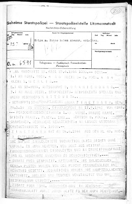 A telegram informing of the escape of a female prisoner Mala Zimetbaum