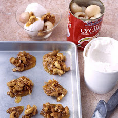 Coconut Sorbet with Cashew Crunch