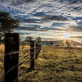 Anambah by Justin Mckinney - Landscapes Prairies, Meadows & Fields ( clouds, farm, sunburst, fence, hunter, mountain, australia, land, property, sunrise, valley, morning )