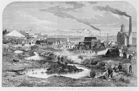 A sketch of 'Chinese quarter Ballarat' in the Australian Illustrated News, 1868. Click to zoom in a little closer.