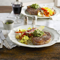 Rib-eye Steaks With Roasted Roots & Parsley Pesto