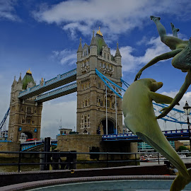 The Dolphin by Phil Robson - Buildings & Architecture Statues & Monuments ( dolphin, statue, thames, london, tower bridge )