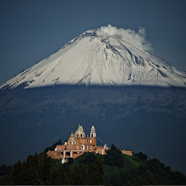 Volcano and church by Alfredo Garciaferro Macchia - Landscapes Mountains & Hills