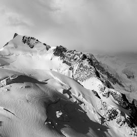 Mont Blanc by Adrian Bercea - Landscapes Mountains & Hills ( winter, blank, black and white, mont, snow )