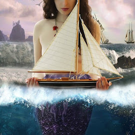 Saved at Sea by Mahmoud Ablan - Digital Art People ( siren, fantasy, mystical, ship, sea, ocean, storm, boat, mermaid )