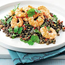 Garlic prawns with Asian puy lentils