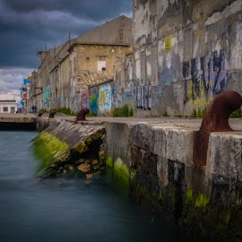 by Paulo Silva - Landscapes Waterscapes ( water, old warehouses, cacilhas portugal, tejo river, sea )