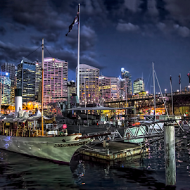 Darling Harbor Sydney by Loredana  Smith - Landscapes Travel ( water, building, ship, sea, night, boat, light, sydney, city )