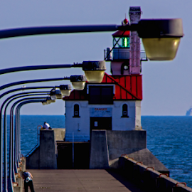 Lights On The Walkway by Tina Hailey - Buildings & Architecture Architectural Detail ( lights, water, lighthouse, bridge, tinas capture moments )