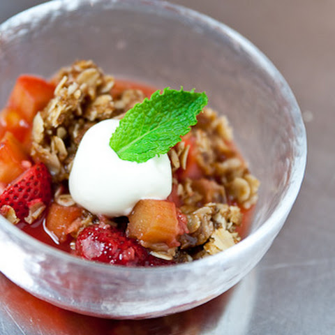 Strawberry Rhubarb Parmesan Crisp
