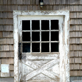 Door needs a paint job by Pennie Shaw - Buildings & Architecture Homes ( farm, old, weathered., 4x3 glass, door, shingles )