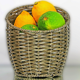 by Dipali S - Digital Art Things ( sour, fruit, lemons, citrus, lemonade, basket, lime, tangy )