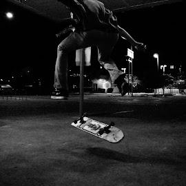 kick flip by Kevin Smith - Sports & Fitness Other Sports ( kick flip b&w )