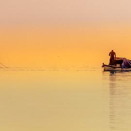 fishermen at dawn by Murat Besbudak - Landscapes Waterscapes ( fishermen, dawn, karşıyaka, bostanlı, izmir )