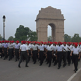 India Gate -  by Prasanna Bhat - News & Events Politics ( red, white, people )