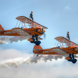 by Dave Byford - Transportation Airplanes ( clouds, flight, flying, sky, wings, aircraft, aerobatics, synchro )