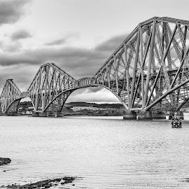 The Forth Rail Bridge by Darrell Evans - Buildings & Architecture Bridges & Suspended Structures ( the forth rail bridge, scotland, crossing, rail, bridge, travel, landscape, river, back and white,  )