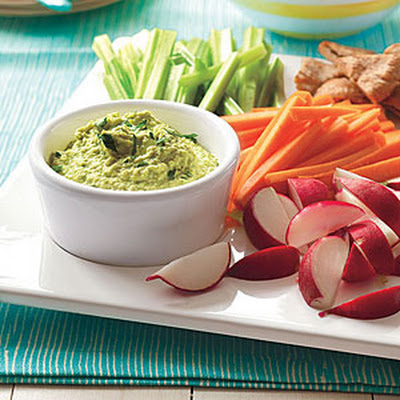Edamame Hummus with Homemade Chips