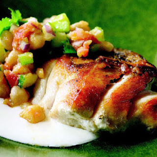 Pan-Roasted Striped Bass with Tunisian Chickpea Salad and Yogurt Sauce