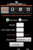 Screenshot of Tank Volume Calculator