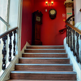 museum staircase by Nic Scott - Buildings & Architecture Other Interior ( stairs, staircase, grandfather clock )