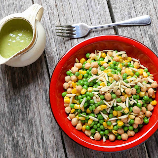 Easy Pea-sy Chickpea and Corn Salad with Creamy Tangy Dressing