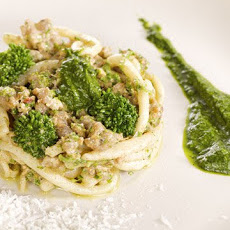 Pici with Sausage Ragu and Broccoli Rabe Puree