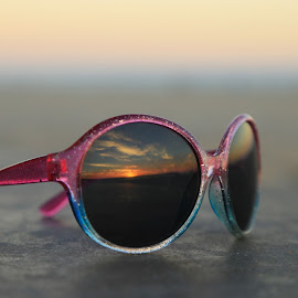 Sunset Reflection by Diana Desrocher - Artistic Objects Clothing & Accessories ( sun glasses, reflection, sunset, kids, sunglasses )