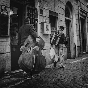 Off to work in Rome, Italy by Peter Greenhalgh - Black & White Street & Candid ( roma, accordion, double bass, rome, busker, italy )