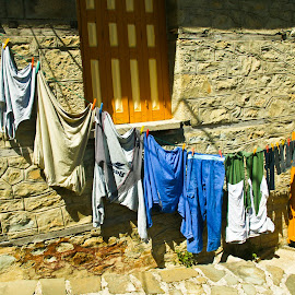 Hung out to dry by Mike O'Connor - City,  Street & Park  Neighborhoods ( clothes, drying, greece, clothes_line, laundry, washing )