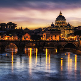 Saint Peters Basilica  by Aaron Choi - Buildings & Architecture Places of Worship ( famous, europe, italian, architecture, travel, tiber, peter's, st peter's basilica, ponte, saint peter, italy, clouds, vatican city, architectural detail, tourism, vatican, basilica, saint peter basilica, roma, saint peter's basilica, winter, european, rome, sunset, night, cathedral, bridge, roman, street lights, river )