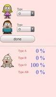 Screenshot of child's blood type probability