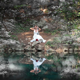 Emotions reflected by David Ovidiu - Wedding Bride ( wedding, bride reflected on the lake, after-wedding, bride and emotions, bride )