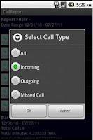 Screenshot of Call Report