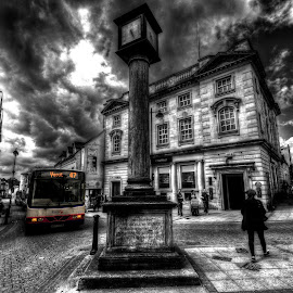 Final destination - Yeovil by Lorraine Paterson - City,  Street & Park  Street Scenes ( colour pop, bus, clock, yeovil, street, town centre, mono )