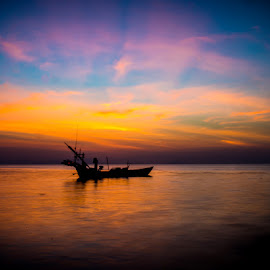 Sunset Over Kep by Matthew Haines - Transportation Boats