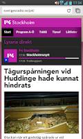 Screenshot of P4 Stockholm (bokmärkesapp)