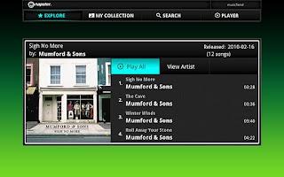Screenshot of Napster for Google TV