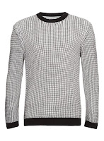 Topman White And Black Grid Sweater