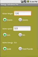 Screenshot of Bullet Energy Calculator Pro