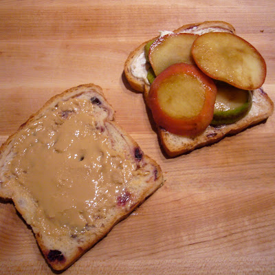 Toasted Tahini and Almond Butter Sandwich with Pears and Apples