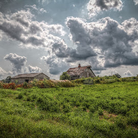 Cloud Farm by Raymond Congrove - Buildings & Architecture Other Exteriors ( clouds, farm, iowa, barn, hay, farming )